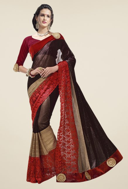 Triveni Brown Embroidered Lycra Saree