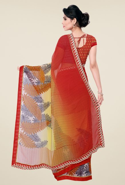 Triveni Red Printed Saree