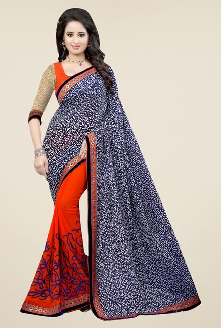 Triveni Orange Faux Georgette Dry Clean Saree