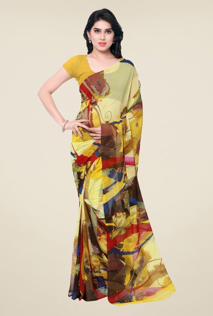 Triveni Yellow Floral Faux Georgette Saree