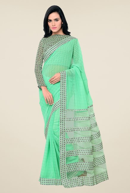 Triveni Green Printed Georgette Net Saree