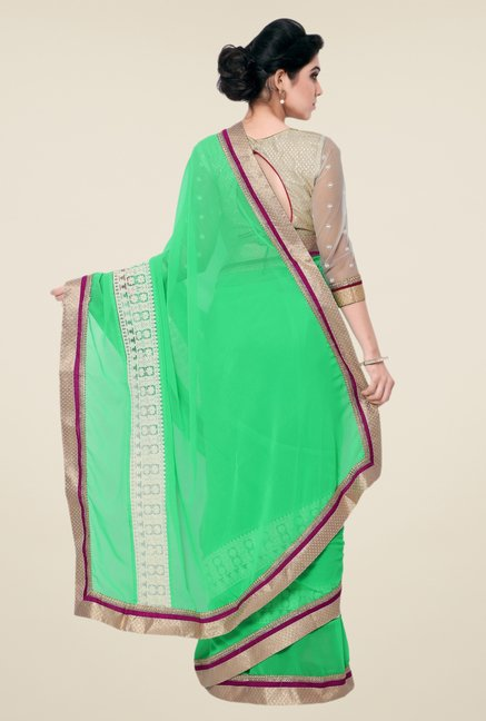 Triveni Green Solid Faux Georgette Free Size Saree