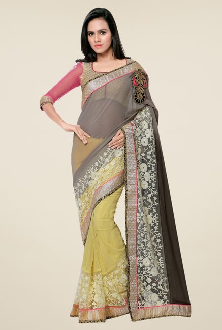 Triveni Yellow Embroidered Faux Georgette Free Size Saree