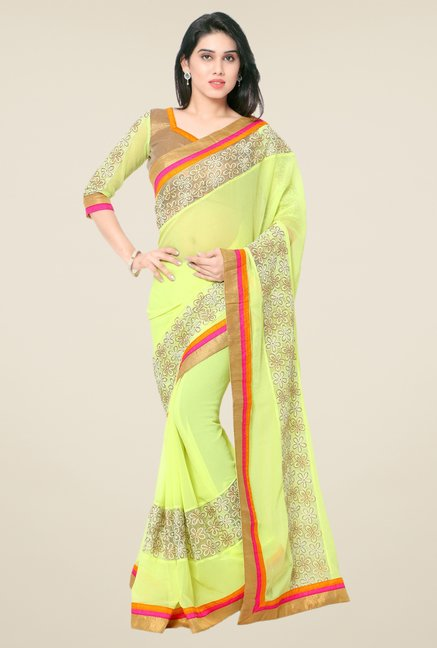 Triveni Yellow Embroidered Faux Georgette Dry Clean Saree