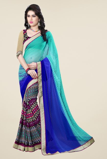 Triveni Multicolor Printed Georgette Jacquard Saree