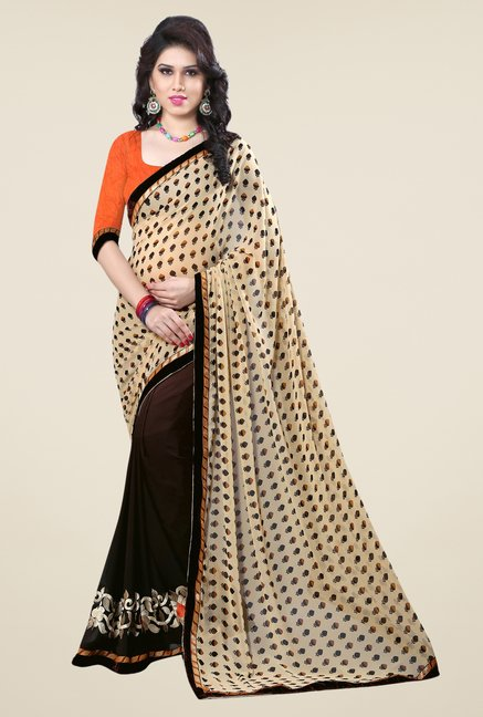 Triveni Brown Printed Faux Georgette Free Size Saree