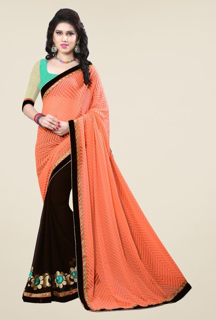 Triveni Brown Printed Georgette Jacquard Saree