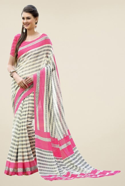 Triveni Cream Striped Art Silk Saree