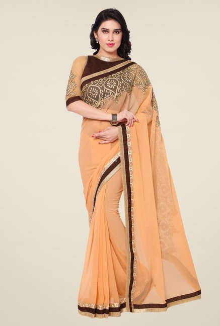 Triveni Peach Solid Faux Georgette Saree