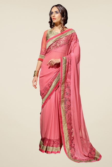 Triveni Pink Embroidered Net Georgette Saree