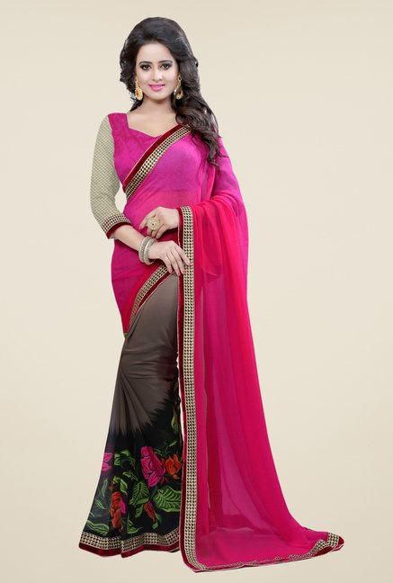 Triveni Brown Printed Free Size Saree