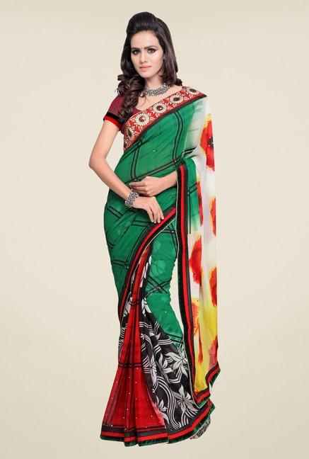 Triveni Multicolor Floral Faux Georgette Saree