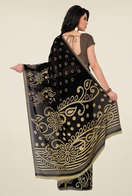 Triveni Black Printed Faux Georgette Saree