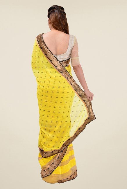 Triveni Yellow Printed Faux Georgette Saree