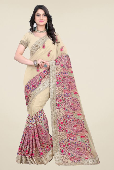 Triveni Beige Embroidered Faux Georgette Saree