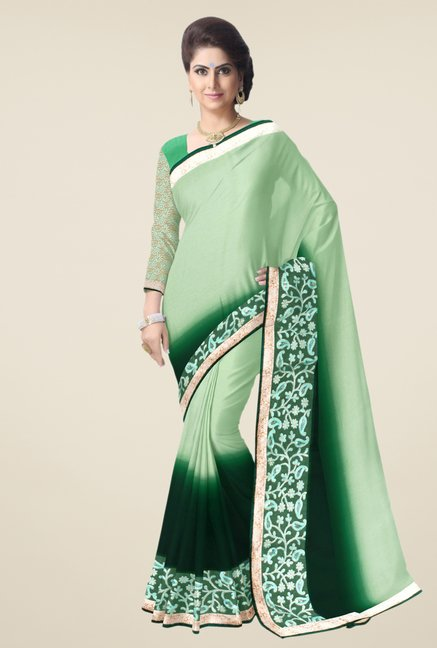 Triveni Green Solid Faux Georgette Dry Clean Saree