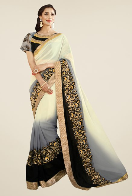 Triveni Cream Embroidered Faux Georgette Saree