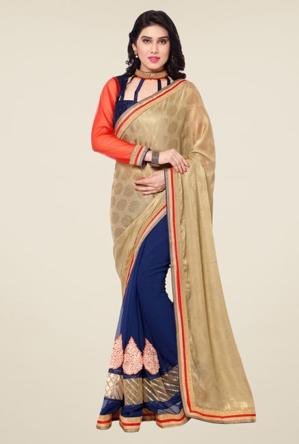 Triveni Blue Printed Faux Georgette Dry Clean Saree