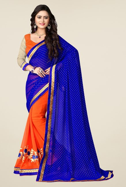 Triveni Orange Embroidered Georgette Viscose Saree