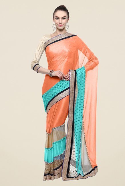 Triveni Orange Solid Lycra Free Size Saree