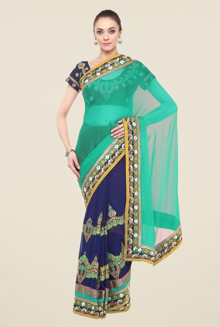 Triveni Navy Embroidered Free Size Saree