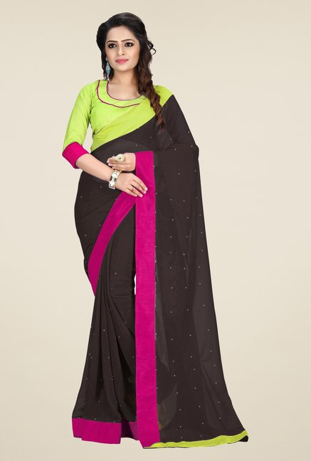 Triveni Brown Solid Faux Georgette Saree