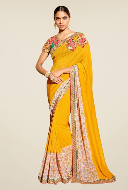 Triveni Yellow Printed Georgette Jacquard Saree