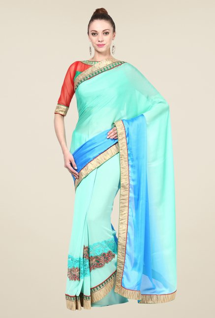 Triveni Turquoise Solid Georgette Satin Saree