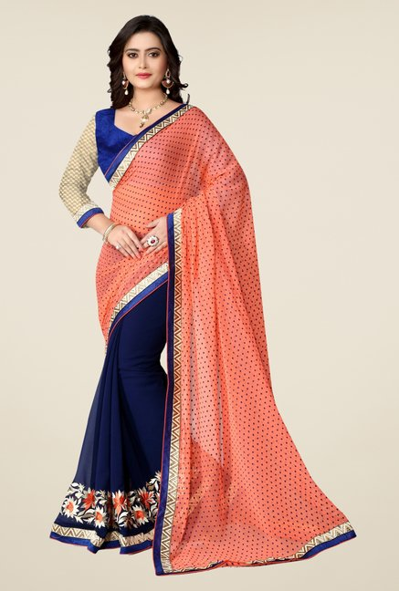 Triveni Navy Embroidered Georgette Jacquard Saree