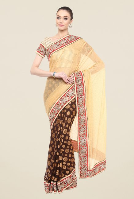 Triveni Brown Printed Lycra Georgette Free Size Saree