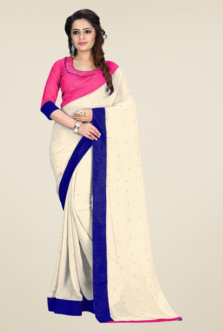 Triveni Off White Solid Faux Georgette Saree