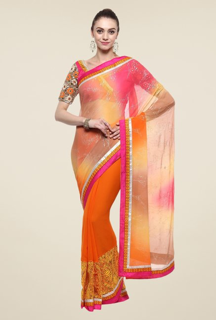 Triveni Orange Printed Faux Georgette Dry Clean Saree