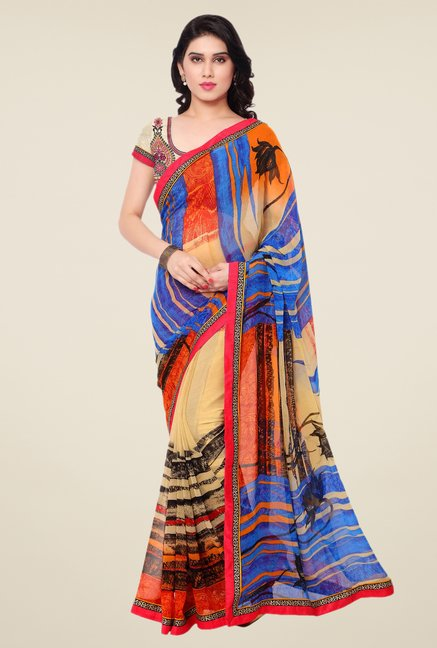 Triveni Multicolor Faux Georgette Dry Clean Saree