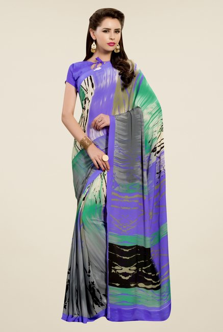 Triveni Multicolor Printed Silk Crepe Saree