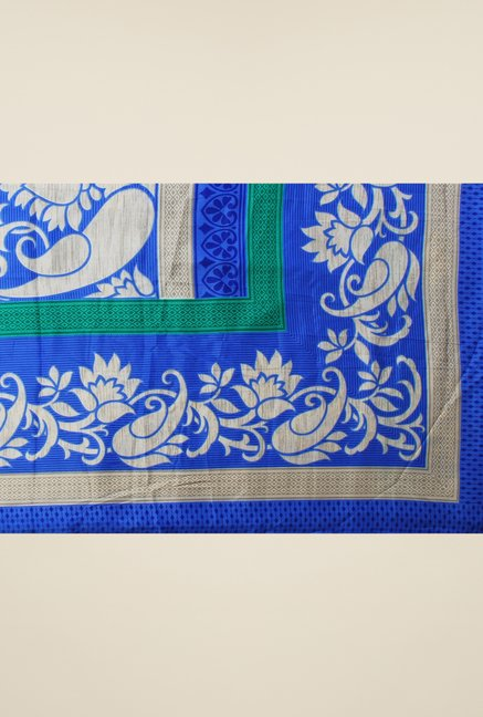 Triveni Blue Printed Silk Crepe Saree