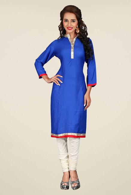 Triveni Blue Solid Cotton Rayon Kurta