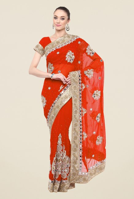 Triveni Orange Printed Faux Georgette Free Size Saree