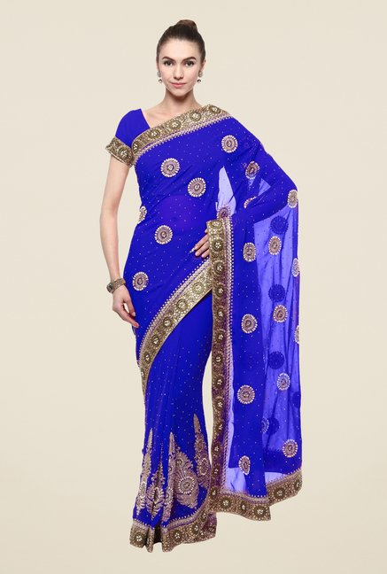Triveni Blue Faux Georgette Dry Clean Saree