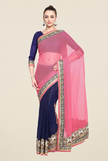 Triveni Blue Printed Georgette Lycra Saree