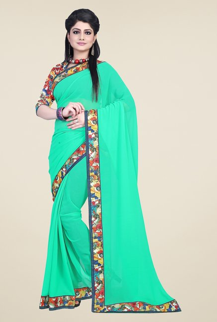 Triveni Green Solid Faux Georgette Saree