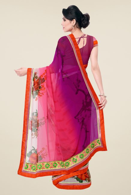 Triveni Multicolor Printed Faux Georgette Saree