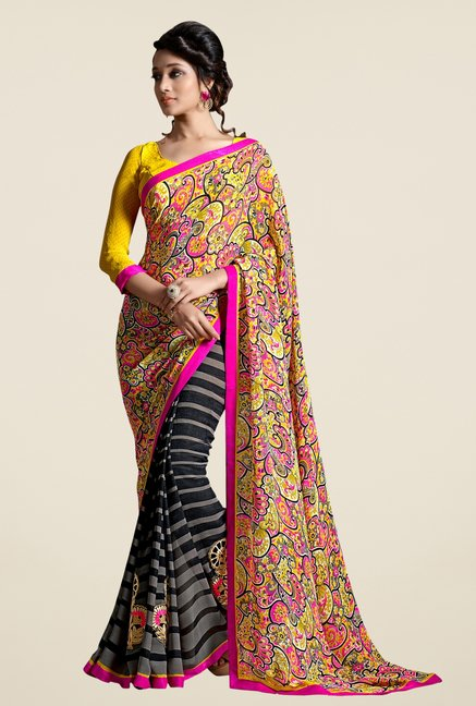 Triveni Black Printed Faux Georgette Dry Clean Saree