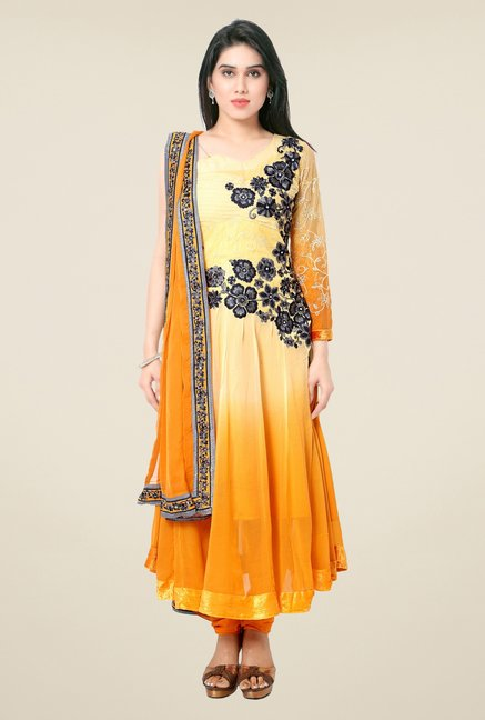 Triveni Yellow & Orange Faux Georgette Dress Material