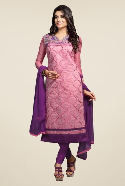Triveni Pink & Purple Embroidered Dress Material