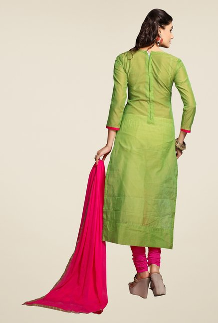 Triveni Green & Pink Embroidered Dress Material
