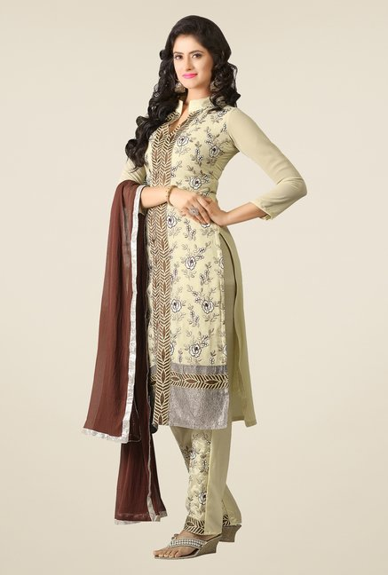 Triveni Cream Embroidered Faux Georgette Dress Material