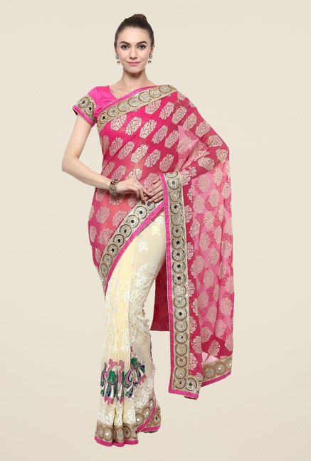 Triveni Cream Embroidered Georgette Jacquard Saree