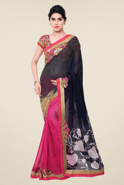 Triveni Pink & Black Printed Faux Georgette Saree