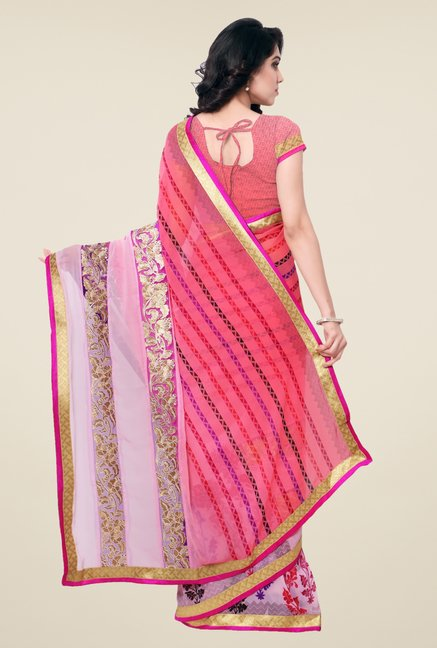 Triveni Pink Embroidered Faux Georgette Saree