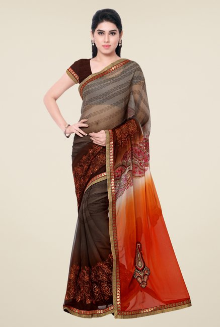 Triveni Brown Printed Chiffon Saree